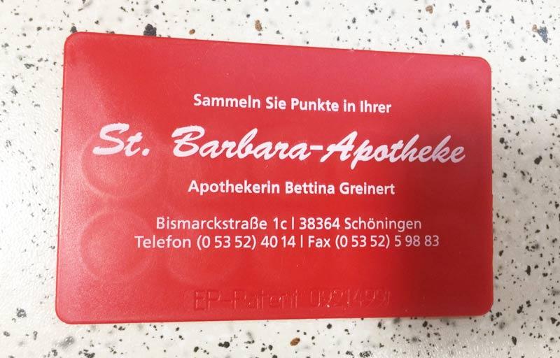 Kundenkarte in der St. Barbara Apotheke Schöningen